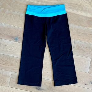 Cropped Black Leggings with Blue Band
